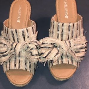 Lane Bryant Navy and Cream Mule Wedges Size 9